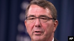 Defense Secretary Ash Carter at the Pentagon, Aug. 20, 2015.
