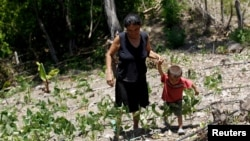 FILE - A woman and her son walk in their drought-affected plot in the southern village of San Francisco de Coray, in the department of Valle, Honduras, Aug. 13, 2015.