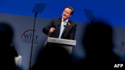 British Prime Minister David Cameron addresses delegates at the 9th World Islamic Economic Forum in London on Oct. 29, 2013.