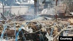 တုိက္ခုိက္ခံခဲ့ရတဲ့ ေနာင္မြန္ရဲစခန္း။ (ဧၿပီ ၁၀၊ ၂၀၂၁။ ဓာတ္ပုံ - The Shan Herald Agency)