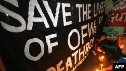 Những người hoạt động cho nhân quyền đã tụ tập tại Manila để tỏ lòng thương tiếc bị cáo.