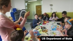 Dream-catcher workshop. Children's Summer Camp at American Center Day 1. August 2015