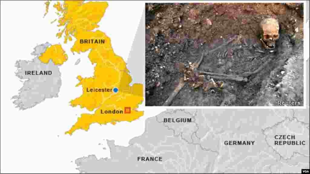 Lokasi ditemukannya kerangka tulang belulang Raja Inggris Richard III di Leicester, Inggris.