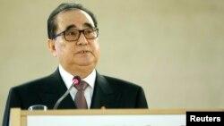 북한의 리수용 북한 외무상이 지난해 3월 스위스 제네바 유엔 본부에서 열린 제28차 유엔 인권이사회에서 기조연설을 하고 있다.