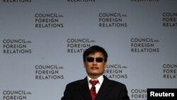 Aktivis tunanetra Tiongkok, Chen Guangcheng berbicara di depan Dewan Hubungan Luar Negeri, New York (31/5).