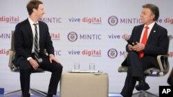 El fundador de Facebook, Mark Zuckerberg, se reunió con el presidente colombiano Juan Manuel Santos.