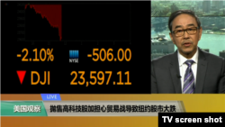 VOA连线(方冰):抛售高科技股加担心贸易战导致纽约股市大跌