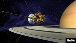 عکسی مفهومی از آنچه کاوشگر کاسینی بعد از ۱۳ سال نهایتا قرار است انجام دهد.