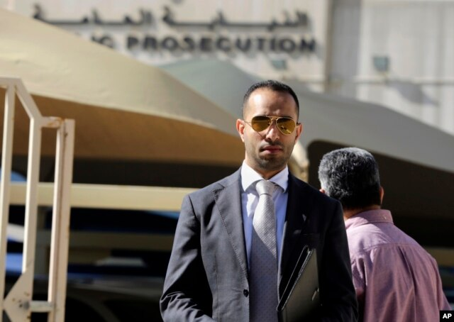 Lawyeral-Jishi, who is representing four U.S. journalists, speaks to journalists as he leaves the Public Prosecution offices in Manama, Bahrain, Feb. 16, 2016.