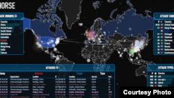 黑客网络攻击位置图 (网络图片)