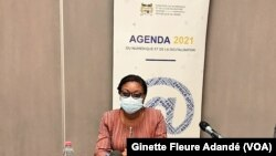 Aurélie Adam Soule Zoumarou, ministre de l'économie numérique et de la digitalisation du Bénin, le 3 septembre 2021. (VOA/Ginette Fleure Adandé)
