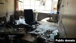 دفتر حزب دموکراتیک خلق ترکیه در شهر آدانا، پس از انفجار روز دوشنبه ۲۸ اردیبهشت ۱۳۹۴