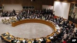 리비아 사태와 관련해 긴급회의를 여는 UN 안전보장이사회 회의장면(자료사진)