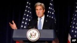 Tư liệu - Ảnh chụp ngày 22 tháng 09 năm 2016, Ngoại trưởng Hoa Kỳ ông John Kerry phát biểu tại New York. Bộ Ngoại giao cho hay Hoa Kỳ đã đình chỉ kênh liên lạc song phương với Nga về vấn đề Syria.