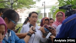 Menlu Retno Marsudi di Istana Kepresidenan Jakarta, Kamis 12 Maret 2015 (Foto: VOA/Andylala).