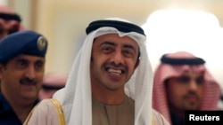 FILE - UAE Foreign Minister Abdullah bin Zayed, shown arriving for a Gulf Cooperation Council meeting in Riyadh last month, has given the impression that his country will soon resume participating in airstrikes targeting Islamic State forces.