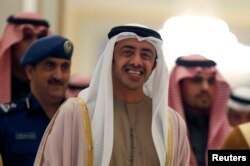 FILE - United Arab Emirates Minister of Foreign Affairs Sheikh Abdullah bin Zayed al-Nahyan arrives in Riyadh, Jan. 21, 2015.