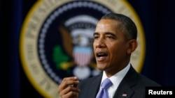 Presiden Barack Obama saat menyampaikan pidato di Gedung Putih, Washington DC (16/1).