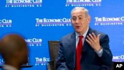Perdana Menteri Israel Benjamin Netanyahu berbicara di Economic Club of Washington, 7 Maret 2018.