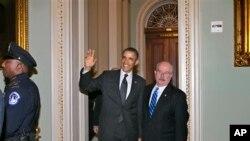美國總統奧巴馬星期二到華盛頓國會山拜訪國會議員