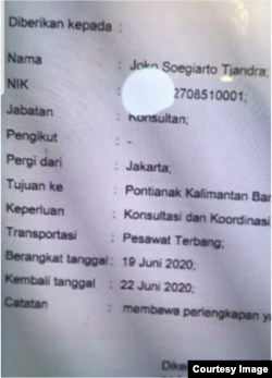 Surat jalan yang diterbitkan pejabat Polri di Bareskrim Polri untuk Djoko Tjandra. (Foto: dokumentasi Boyamin Saiman)