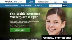 Imágen del sitio web HealthCare.gov que el presidente Barack Obama quiere reparar.