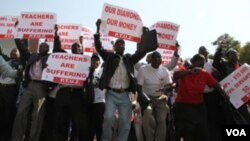 FILE: Striking civil servants in Zimbabwe unhappy about low salaries.
