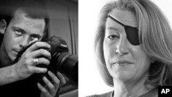 Американская журналистка Мари Колвин (справа) и французский фотограф Реми Ошлик (архивное фото)