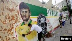 Graffitti em homenagem ao jogador brasileiro Neymar