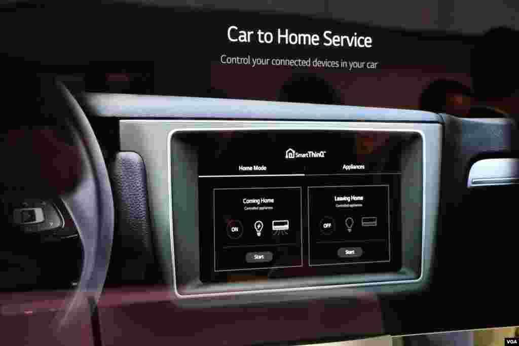 نمایشگاه محصولات الکترونیکی CES تکنولوژی جدید ال جی که می تواند در صنعت خانه های هوشمند به کار می رود. با این تکنولوژی می توان از داخل خودرو تمام لوازم الکتریکی منزل را کنترل کرد.