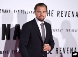 "Leonardo DiCaprio arrives at the at the world premiere of ""The Revenant"" at the TCL Chinese Theatre on Dec. 16, 2015, in Los Angeles."