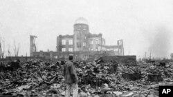 1945年發布的圖片顯示日本廣島遭受原子彈爆炸後面貌。