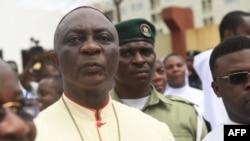 L'archevêque de Lagos, Alfred Adewale Martins, lors d'une marche de solidarité organisée par les catholiques pour protester contre les violentes attaques à Lagos, le 22 mai 2018.