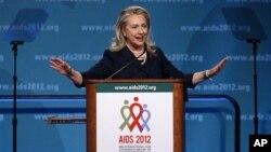 23일 국제 에이즈회의에서 연설하는 힐러리 클린턴 미 국무장관.