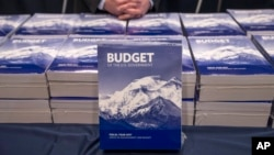 FILE - Copies of President Barack Obama's fiscal 2017 federal budget are displayed by the Senate Budget Committee, Feb. 9, 2016, on Capitol Hill in Washington.