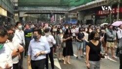 香港中环抗议人士周一快闪支持理工大学示威者