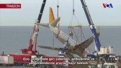Trabzon Uçağı Vinçle Çıkarıldı
