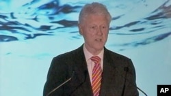 Former US President Bill Clinton, who created the Clinton Global Initiative, a development fund, praises all of the Hult competition finalists for offering practical solutions, and asks how they'll make it a reality, April 28, 2011