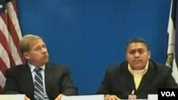 El ministro Consejero de la Embajada de los Estados Unidos en Managua, Robert Richard Downes y Jaime García, ggerente de Sahlman Seafoods, hablaron desde Managua.