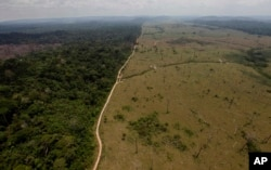 FILE - This Sept. 15, 2009 file photo, shows a deforested area near Novo Progresso in Brazil's northern state of Para.