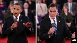 Tổng thống Obama (trái) và ông Mitt Romney