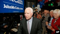 Sen. John McCain, R-Ariz., is pictured after winning the Arizona Republican primary in Phoenix. On Tuesday, McCain won his sixth term at age 80, in what possibly was his final campaign.