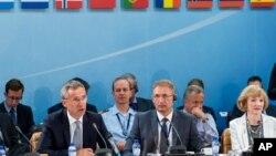 Tổng thư ký NATO Jens Stoltenberg trong phiên họp tại trụ sở của NATO ở Brussels, ngày 28/7/2015.