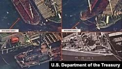지난해 11월 미 재무부 해외자산통제실이 공개한 북한 선박의 대북제재 위반 정황이 담긴 사진. 조선 금별무역회사가 소유한 '례성강' 호가 다른 선박에 화물을 옮겨 싣고 있다. (자료사진)