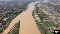 Cette vue aérienne du 29 juillet 2021 montre une vue générale de Niamey, la capitale du Niger.
