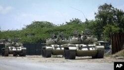 ژمارهیهک تانکی هێزهکانی یهکێتی ئافریکا له مهگادیشۆی پایتهختی سۆماڵ، شهممه 29 ی دهی 2011