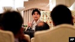 6일 파키스탄 이슬라마바드에서 차우드리 니사르 알리 칸 파키스탄 내무장관이 기자회견을 하고 있다.