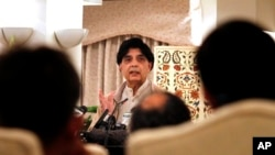 Pakistan Interior Minister Chaudhry Nisar Ali Khan speaks during a press conference in Islamabad, Dec. 6, 2015.