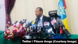 Le Premier ministre éthiopien, Abiy Ahmed, lors de sa première conférence de presse, à Addis Abeba, Ethiopie, 25 août 2018. (Twitter/ Fitsum Arega)