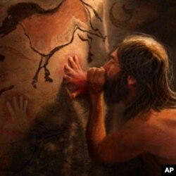 Some cave paintings were likely made as shown, by mixing pigment with saliva inside the mouth and blowing the mixture onto a cave wall.